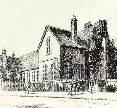 Old Grammar School, Churchgate St, Soham, 1924: drawing by GF Briscoe